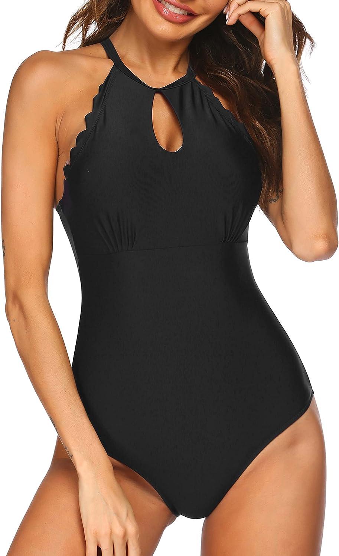 Ekouaer One Piece Swimsuit High Neck Swimwear Back Cross Halter Bathing Suits Women Monokinis Tummy Control S-XXL