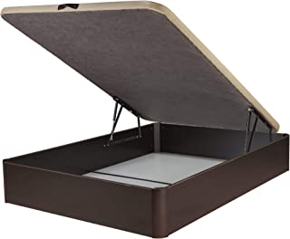 DHOME Canape Abatible Tapizado 3D 4 válvulas Maxima Calidad Esquinas canapé Madera (135x190 Wengué, 30mm)