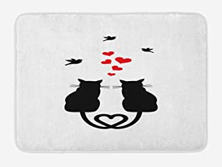 Love Bath Mat, Cats in Love with Heart Shaped Tails Birds Animal Silhouettes Valentines Theme, Plush Bathroom Decor Mat with Non Slip Backing, 23.6 L X 15.7 W Inches, Red Black White