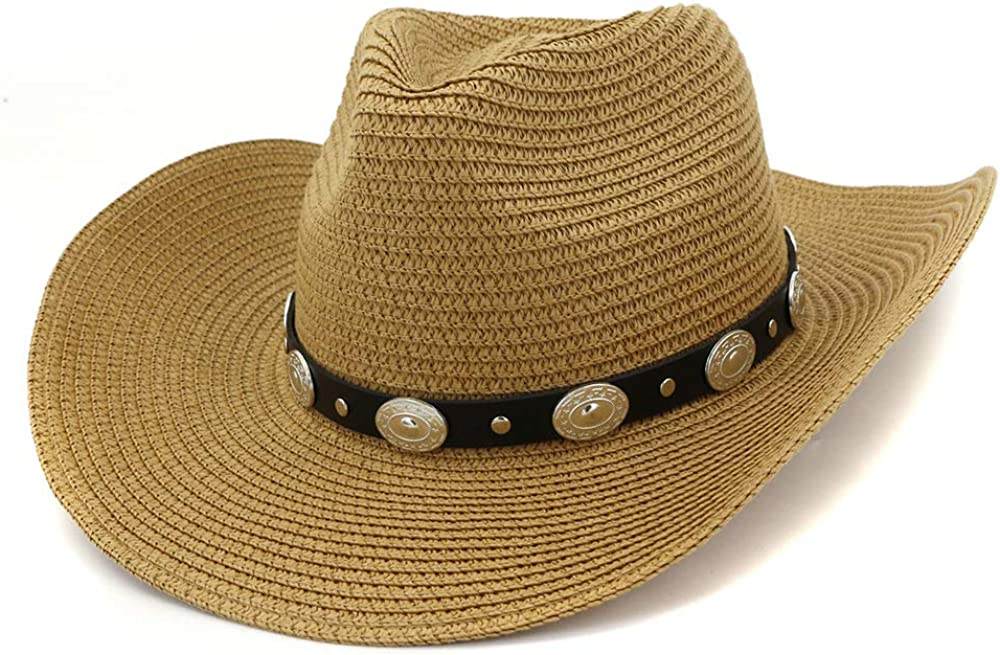 WENHAODJ Chapeau de Paille Western Cowboy pour Femmes en Bord de mer Sun Beach Hat Visor