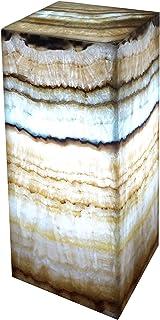 "Lampada rettangolare in marmo di onice ""Serpentina Beta Azul"" 30cmx15cm"