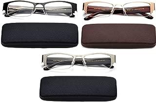 Newbee Fashion- 3 Pairs Half Frame Reading Glasses Metal Semi Rimless Men Women Wide Arm Rectangular Metal Frame Reading Glasses in Case with Hard Case