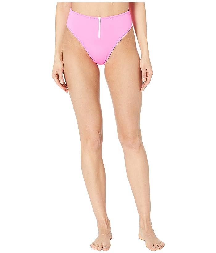 Jonathan Simkhai Classic Front Zip Bikini Bottoms (Neon Pink) Women