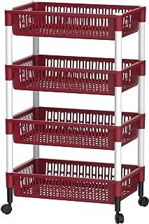 Cosmoplast Multipurpose Plastic Trolley Vegetable Rack 4 Tiers, Dark Red, IFHHVR383DR