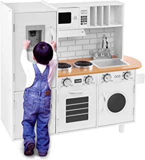 BAHOM Kids Play Kitchen Set for Toddlers, Chefs Pretend Toy Set with Sounds, Height Adjustable, White