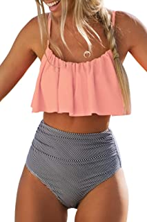 Women's High Waisted Falbala Bikini Set