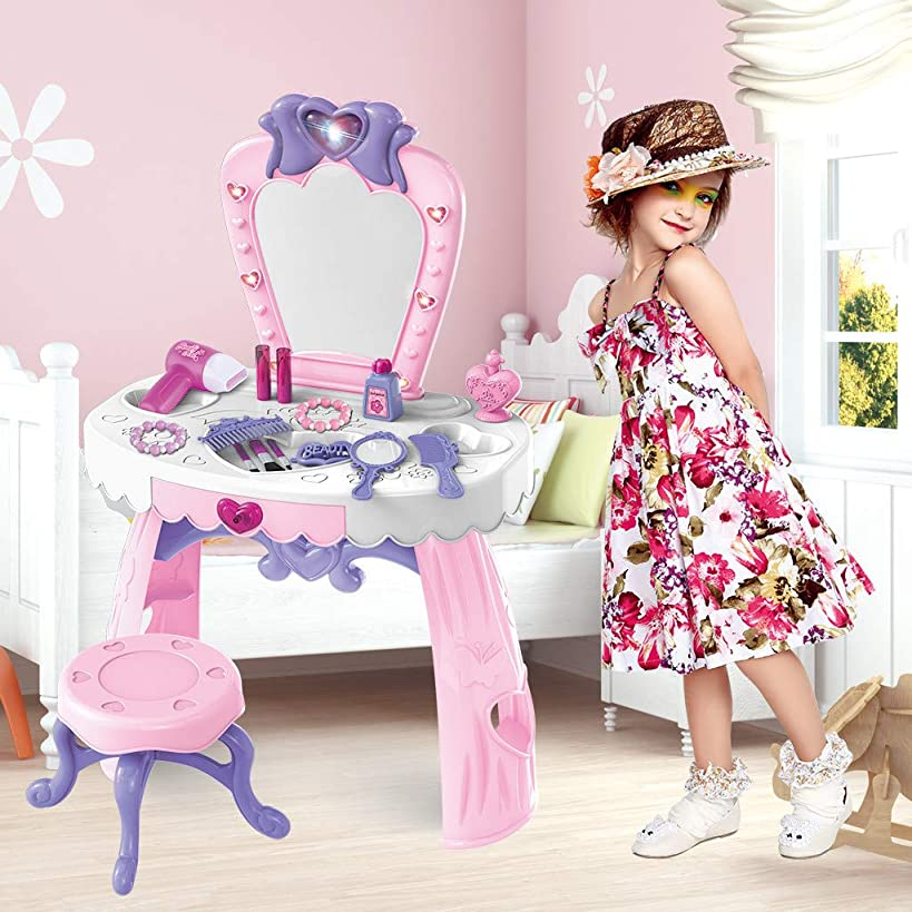 Luonita Toddler Fantasy Vanity Beauty Queen Dresser Table Play Set with Sounds, Chair, Fashion & Makeup Accessories Pretend Play Battery Toy for Baby Girls Shipping from CA.,NJ.