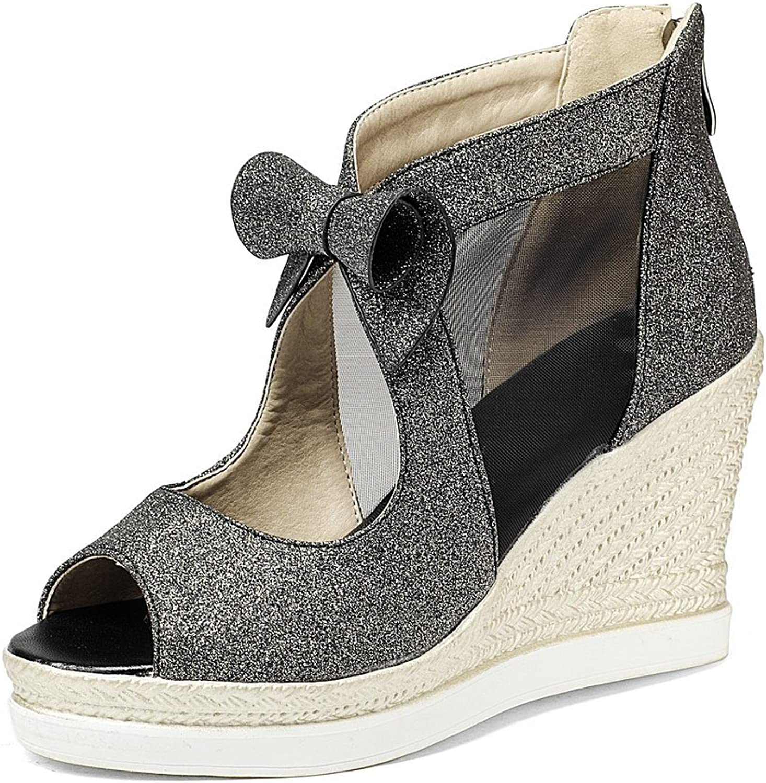 AnMengXinLing Wedge Sandals Women High Heel Peep Toe Platform Bowknot Dress Summer Boots shoes Silver gold Black