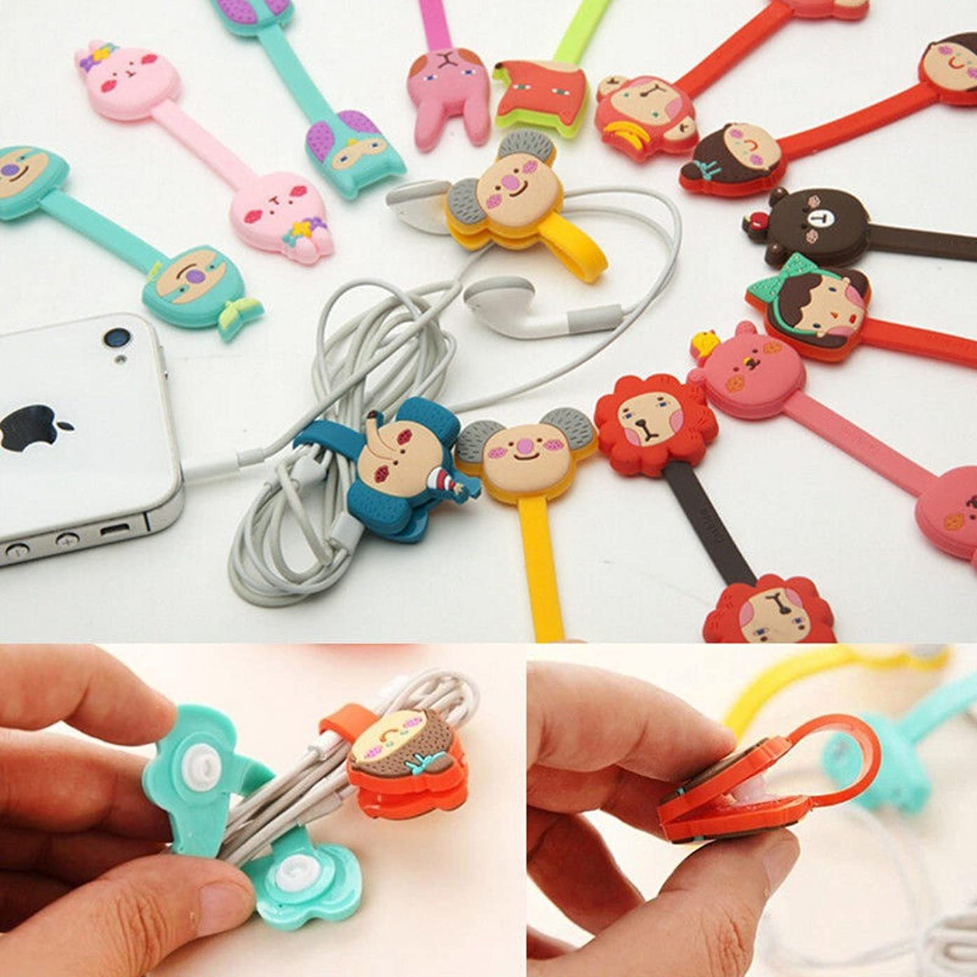 Lot of 13 style Animal Chick Cable Winder Earphone Wire Cord Organiser (13 Different Random Stlye)