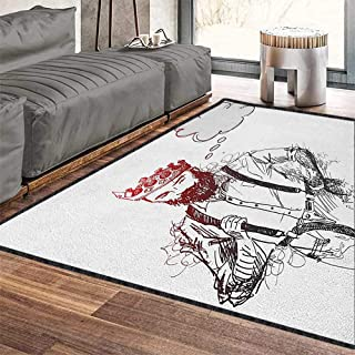 Indie Modern Abstract Area Rug,Cool Hipster King Character with Crown and Thinking Bubble Sketch Artwork Suitable for Bedroom Home Decor Pale Grey Black Red 79