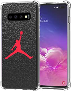 Galaxy S10+ Plus Case, Ailiber S10Plus Slam Dunk Jump Man AJ Air MJ NBA Sport Red Black Thin Light Design Shock Absorption Soft TPU Bumper Protective Cover for Samsung Galaxy S10+ 6.4 in - Basketball