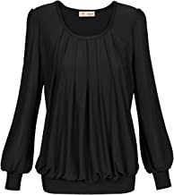 Timeson Women's Long Sleeve Scoop Neck Pleated Front Fitted Blouse Tops