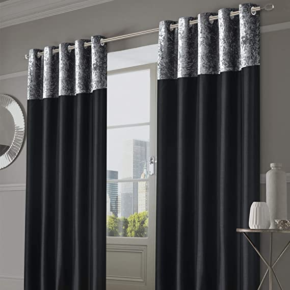 Modern Crushed Velvet Velour Curtain Pairs Fully Lined Ring Top Eyelet Tieback