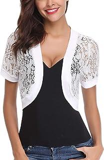Abollria Women Short Sleeve Floral Lace Shrug Open Front Bolero Cardigan