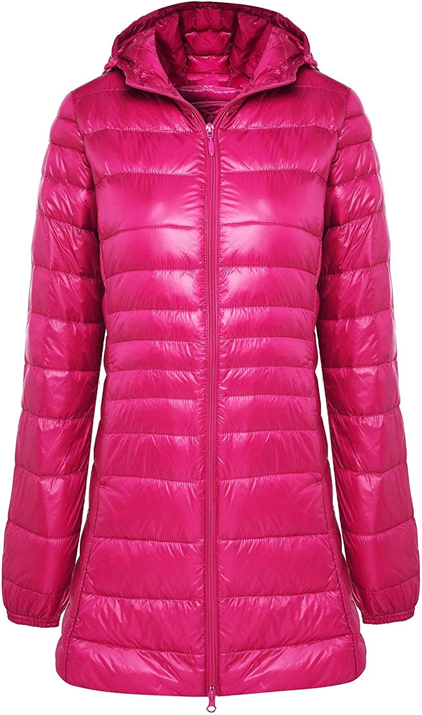 Aehoor Womens Long Winter Warm Jacket Super Light 90% Duck Down Hooded Parker Coat