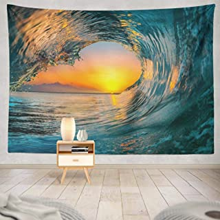 Kutita Sunset Sea Tapestry, Wall Hanging Tapestry Sunset Sea Water Ocean Wave Surf Abstract Beach Wall Tapestry Dorm Home Decor Bedroom Living Room in 80X60 inch