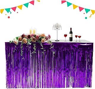 Rain Curtain Tassels Metallic Foil Fringe Table Skirt Festival Party Decorations (Deep Purple, 9ft)