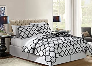 VCNY Home GLX-8CS-KING-IN-BW Reversible 8 Piece Bed-In-A-Bag Comforter Set, King, Black/White