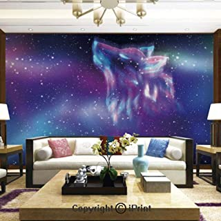 Wallpaper Nature Poster Art Photo Decor Wall Mural for Living Room,Psychedelic Northern Starry Sky with Spirit of A Wolf Aurora Borealis Display,Home Decor - 100x144 inches