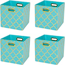 Posprica Storage Bins, Storage Cubes Baskets Boxes Containers Closet Organizers,More Durable Fabric Drawers, Aqua/Gold Lan...