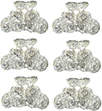 Set of 6 Mini Jaw Clips Claw Clips Silver White Bridal Hair Clips LPW-1-6