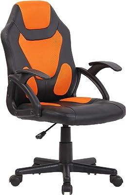 CLP Sedia Studio Gaming Bambino Dano In Similpelle E Rete Traspirante I Poltrona Racing Con Braccioli, Colore:nero/arancione