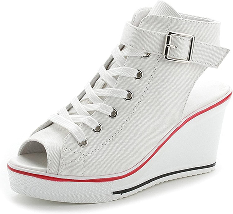 Ladiamonddiva Sandals Pumps New Ladies Platform Sandals Summer Open Toe Sandals Women's shoes Slope with Platform Wedge Sandals Pink Black White Red White 8