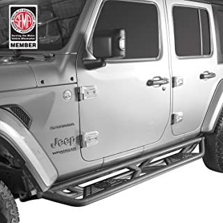 Hooke Road Side Steps Tubular Running Boards w/Since 1941 Plate for Jeep Wrangler JL 2018 2019 2020 Unlimited 4-Door (Pair)