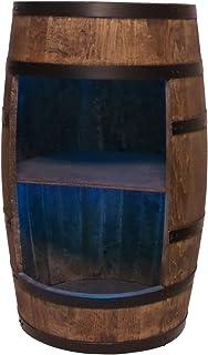 Casier à vin en bois - Mini bar - Armoire à alcool pour homme - Armoire de bar avec lumières LED - Hauteur : 80 cm - Rétro...