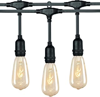 36Ft. Outdoor Patio String Lights with 24 E17 Hanging Sockets & 7 Watt ST40 Clear Bulbs, Weatherproof Vintage Edison Light for Garden, Deck, Yard, Porch, Bistro, Market, Cafe, Party Decoration, Black