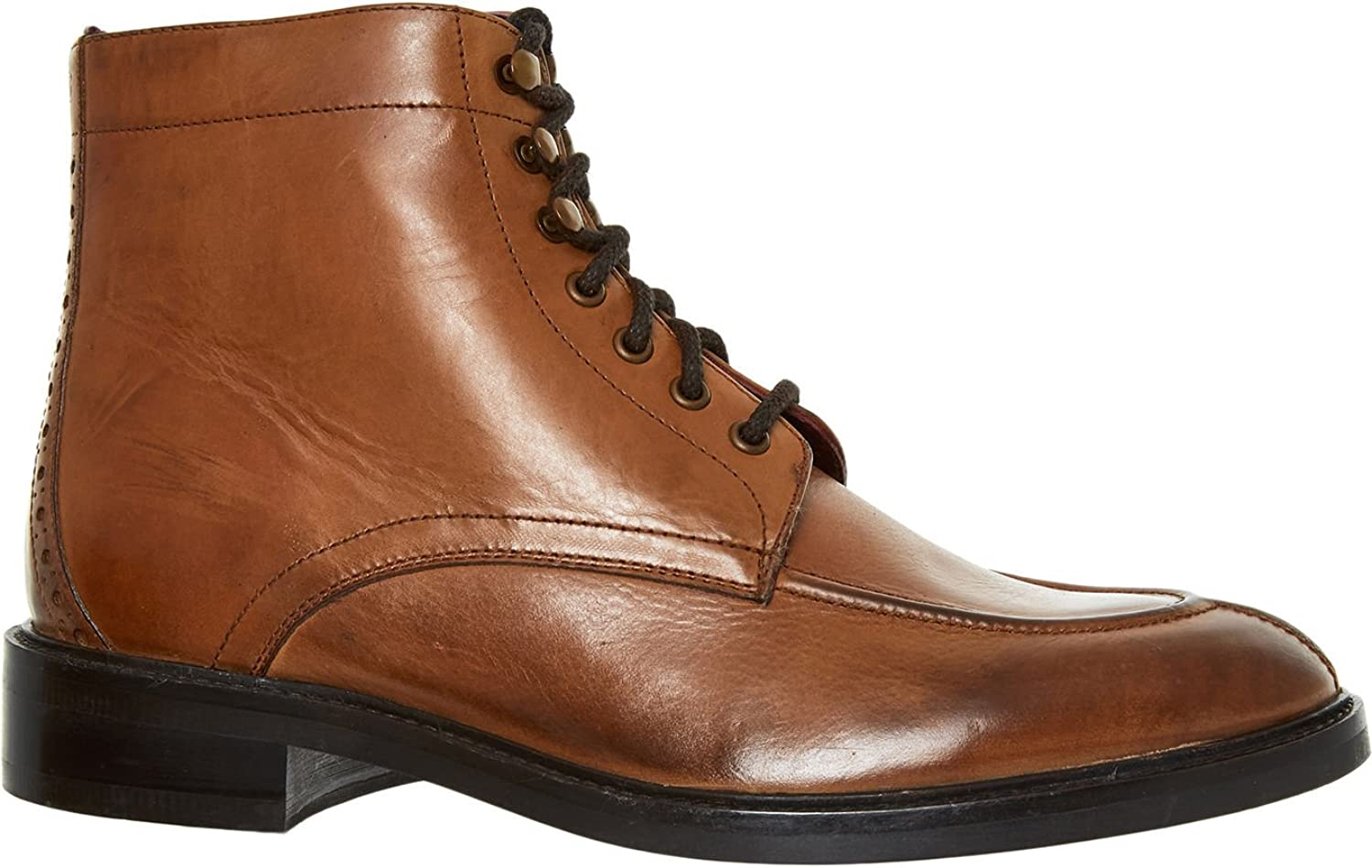 London Brogues Men's Oxford Brown Leather Boots