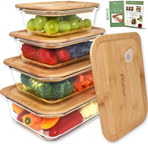 EcoPreps Glass Food Storage Containers with Bamboo Lids?Set of 4?100% Plastic Free, BPA Free, Eco-Friendly, Lunch Containers   Oven, Freezer, Microwave Safe Glass Meal Prep Containers (Patent-Pending)