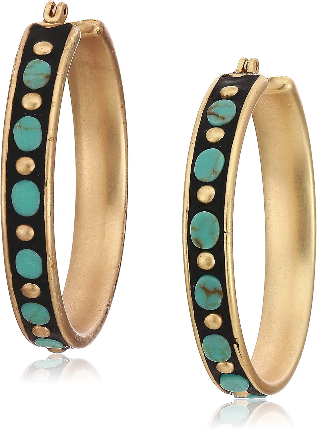 Lucky Brand Turquoise Inlay Hoop Earrings, Gold