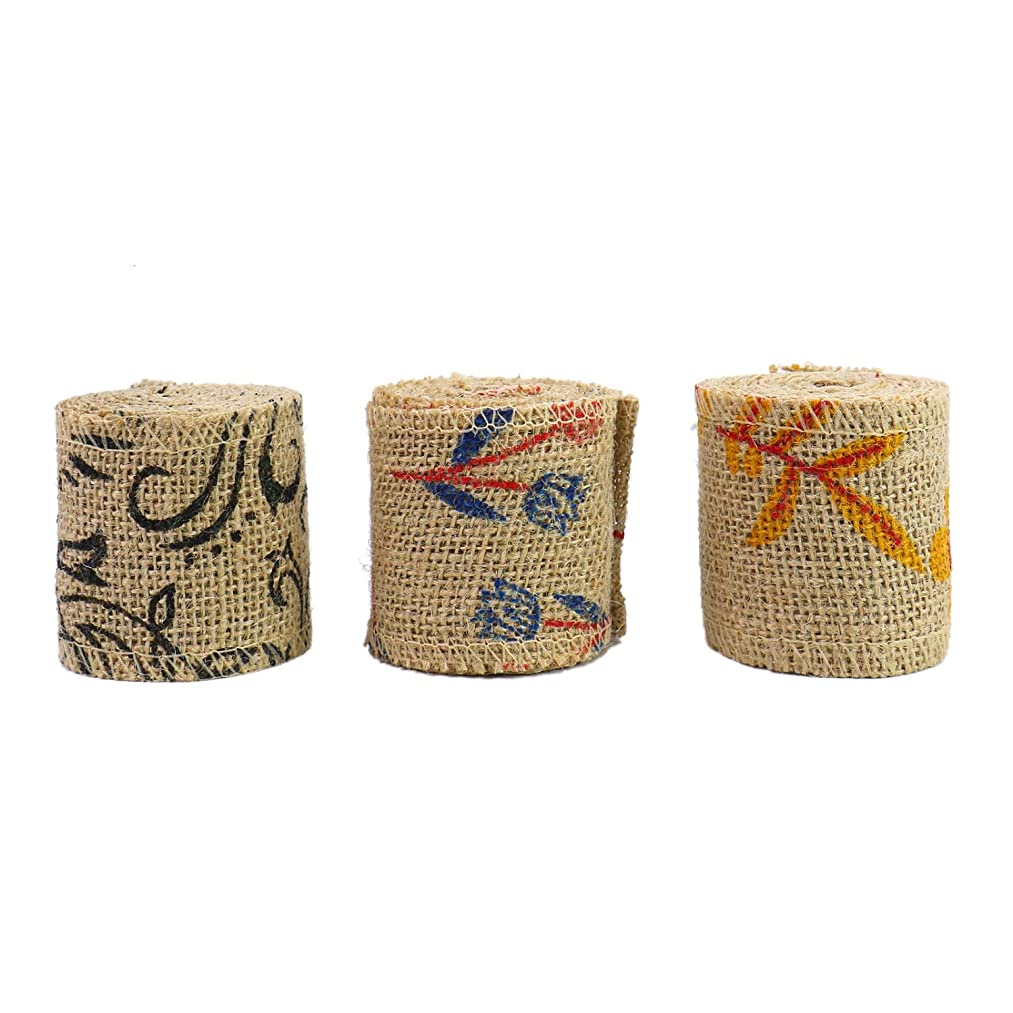 Monrocco 3 Rolls Flower Burlap Ribbon Floral Jute Ribbon for Crafting Gift Wrapping (2.4 inch)
