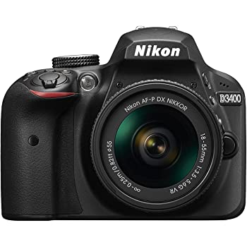 Nikon D3400 DSLR Camera w/ AF-P DX NIKKOR 18-55mm f/3.5-5.6G VR Lens, Black (Renewed)