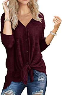 I2CRAZY Womens Waffle Knit Tunic Blouse Tie Knot Henley Tops Loose Fitting Bat Wing Plain Shirts