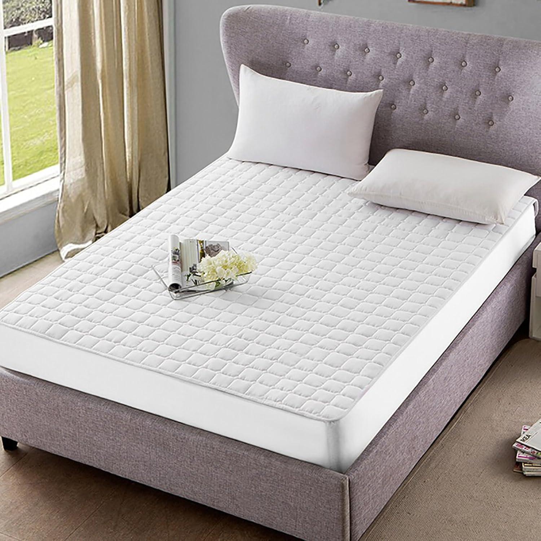 DULPLAY Microfibre Bed Mattress Topper,Mattress Predectors Soft Bed Cover,Washable Foldable Anti-Bacteria Non-Slip Cotton Down-White 180x200cm(71x79inch)
