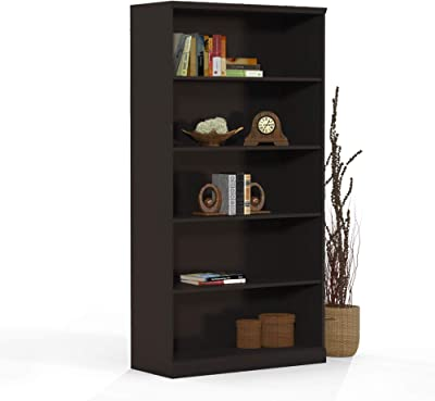 Mayline Sorrento Bookcase, 5 Shelf, Espresso Veneer