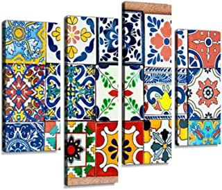 Talavera Handcrafted Mexican Ceramic TileCanvas Wall Art Hanging Paintings Modern Artwork Abstract Picture Prints Home Decoration Gift Unique Designed Framed 4 Panel