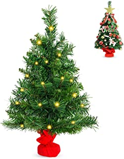 La fete 2FT Prelit Tabletop Artificial Christmas Tree, Mini Premium Spruce Xmas Tree with 35 LED Lights, Stable Cement Base, Battery Operated, for Xmas Home Décor, Kitchen, Dining Table