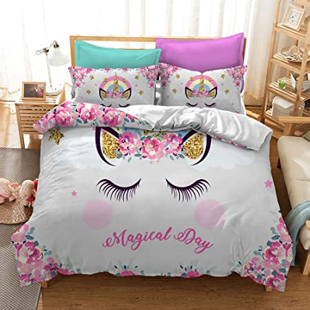 3 Pieces Pink Shy Unicorn Duvet Cover Kids Teens Cartoon Unicorn Comforter Cover Magical Day Floral Rainbow Quit Cover with 2 Pillow Shams