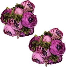 Ezflowery 2 Pack Artificial Peony Silk Flowers Arrangement Bouquet for Wedding Centerpiece Room Party Home Decoration, Elegant Vintage, Perfect for Spring, Summer and Occasions (2, Purple)