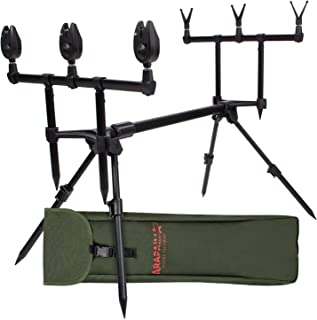 04289a07b1 ARAPAIMA FISHING EQUIPMENT Rod Pod Set Lakeview | Support de Canne en  Aluminium | Repose-Cannes de pêche pour 3 Cannes à pêche | Sac de Transport  | Coussins ...