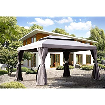 Grand patio 10x13 Feet Patio Gazebo, Outdoor Instant Canopy with Mosquito Netting and Shade Curtains,Sturdy Straight Leg Tent for Backyard & Party & Event
