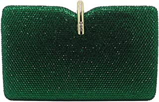Hard Box Clutch Crystal Evening Bags And Handbags For Womens Party Prom Emerald Dark Green-In Top