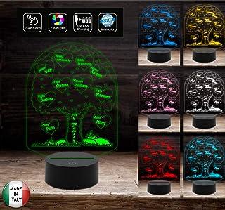 ALBERO GENEALOGICO personalizzato Lampada led 7 colori selezionabili con touch Luce da notte FAMIGLIA per bambini