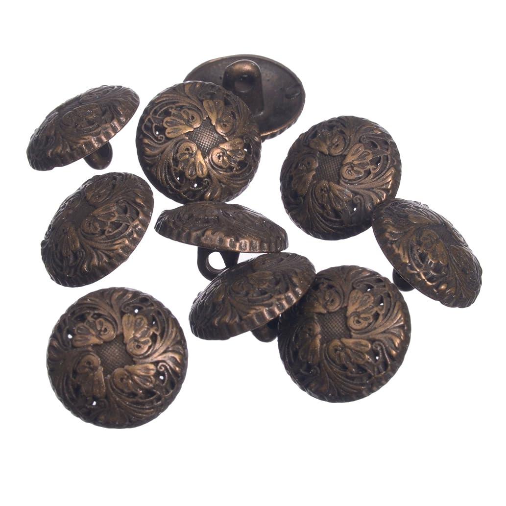 Zinc Diecasted Metal Shank Button - Renaissance Floral Pattern - 24 Line - Antique Brass