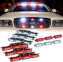 DT MOTO Red White 54x LED Emergency Service Vehicle Dash Deck Grill Warning Light - 1 set
