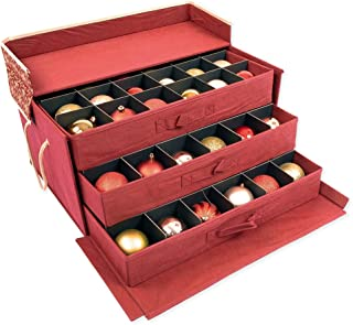 [Christmas Ornament Storage Box with Dividers] - (Holds 72 Ornaments up to 3 Inches in Diameter) | Acid-Free Removable Trays with Separators | 3 Removable Drawer Style Trays - (Classic Snowflake)
