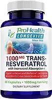 ProHealth Longevity 1000 mg Trans Resveratrol Plus 420 mg Certified Organic Polyphenol Complex That Improves Absorption...